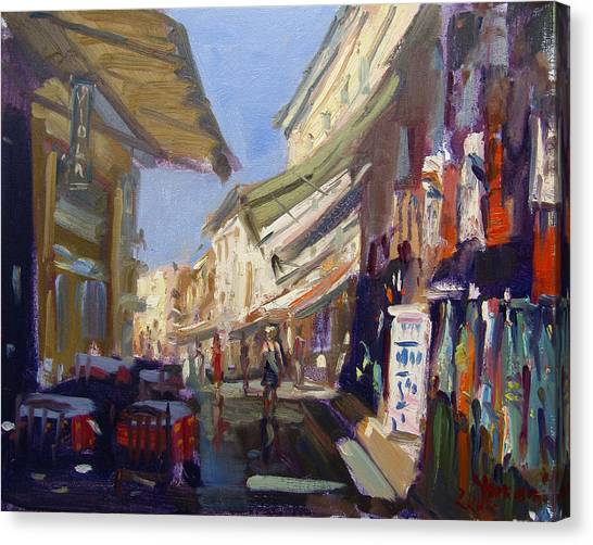 The Acropolis Canvas Print - Plaka Athens Greece by Ylli Haruni