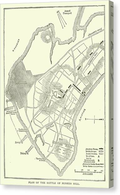 New England Revolution Canvas Print - Plan Of The Battle Of Bunker Hill, 1775 by American School