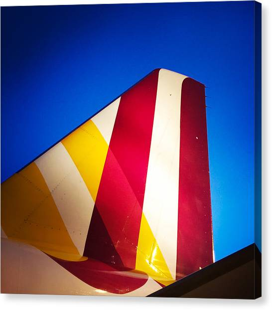 Detail Canvas Print - Plane Abstract Red Yellow Blue by Matthias Hauser