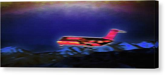 Plane Landing At Airport - The Red Eye Flight Canvas Print by Steve Ohlsen