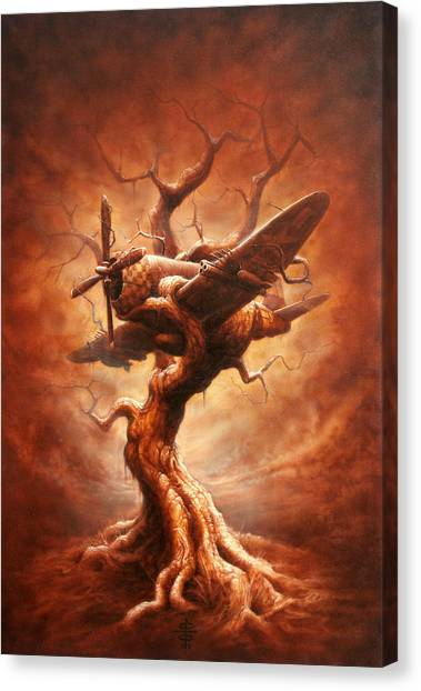 Surrealism Canvas Print - Plane Old Tree by Victor Whitmill