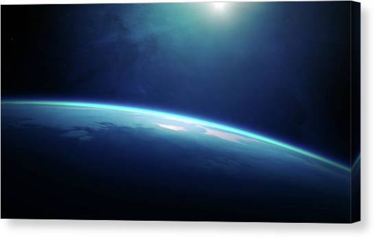 Sunset Horizon Canvas Print - Planet Earth Sunrise From Space by Johan Swanepoel