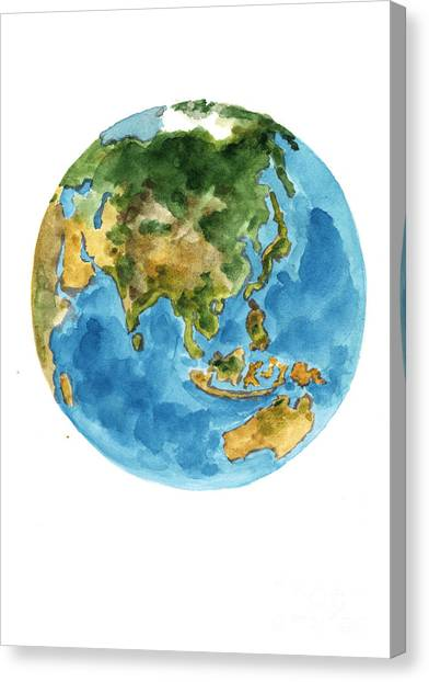 Flag Canvas Print - Planet Earth Watercolor Art Print Painting by Joanna Szmerdt