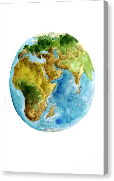 Flag Canvas Print - Planet Earth Watercolor Poster by Joanna Szmerdt