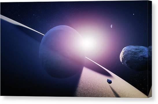 Ring Canvas Print - Planet Saturn Sunrise by Johan Swanepoel