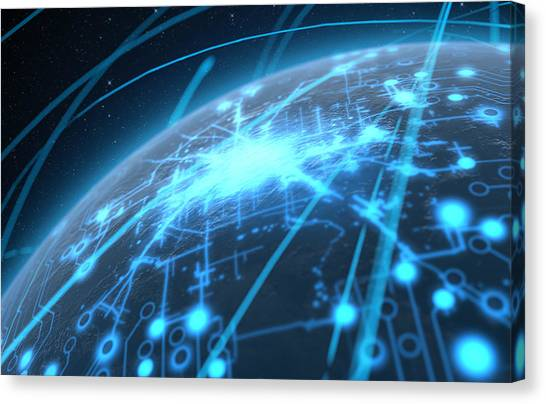 Abstract Movement Canvas Print - Planet With Illuminated Network And Light Trails by Allan Swart