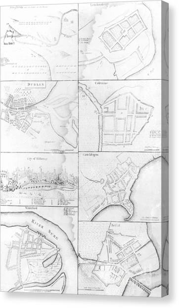 Waterford Canvas Print - Plans Of The Principle Towers, Forts And Harbors In Ireland  by English School