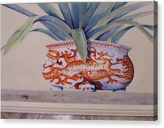 Canvas Print featuring the painting Planter Close Up by Thomas Lupari