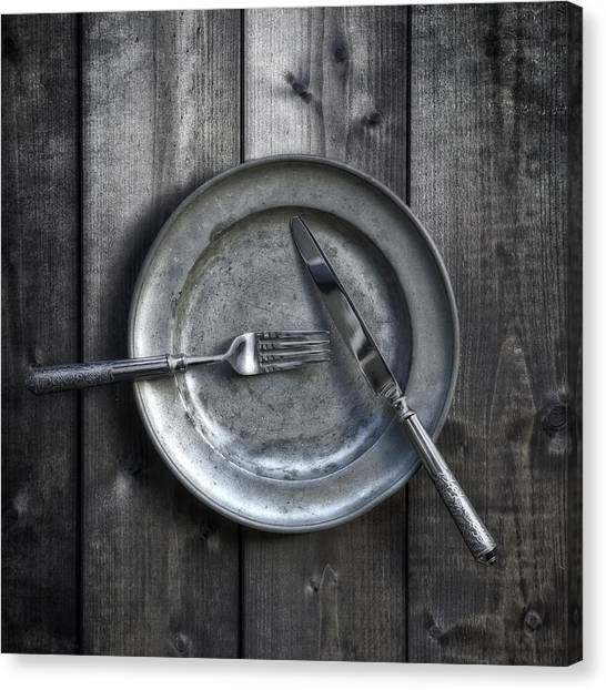 Plate With Silverware Canvas Print