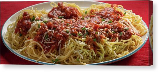 Spaghetti Canvas Print - Plated Pasta by Steve Gadomski