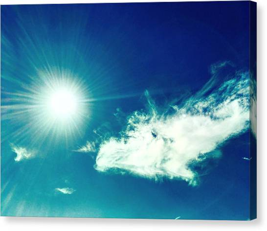 Platinum Rays And Angelic Cloud Bless The Prairie Canvas Print