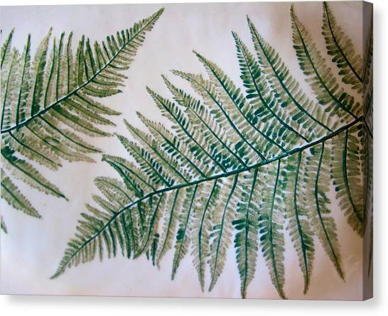 Platter With Ferns Canvas Print