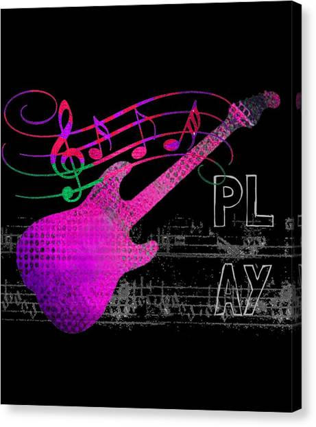 Canvas Print featuring the digital art Play 5 by Guitar Wacky