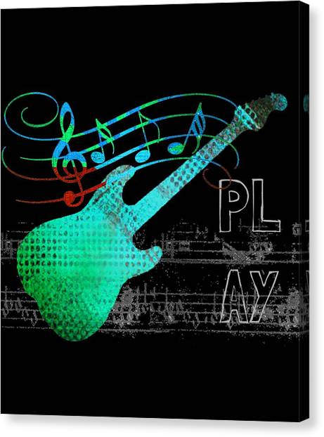 Canvas Print featuring the digital art Play 4 by Guitar Wacky