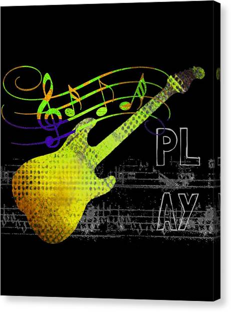 Canvas Print featuring the digital art Play 2 by Guitar Wacky