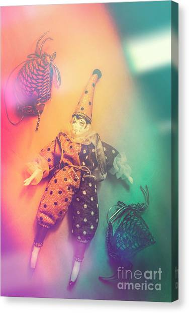 Costume Canvas Print - Play Act Of A Puppet Clown Performing A Sad Mime by Jorgo Photography - Wall Art Gallery