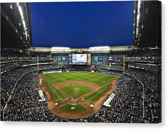 Milwaukee Brewers Canvas Print - Play Ball by CJ Schmit
