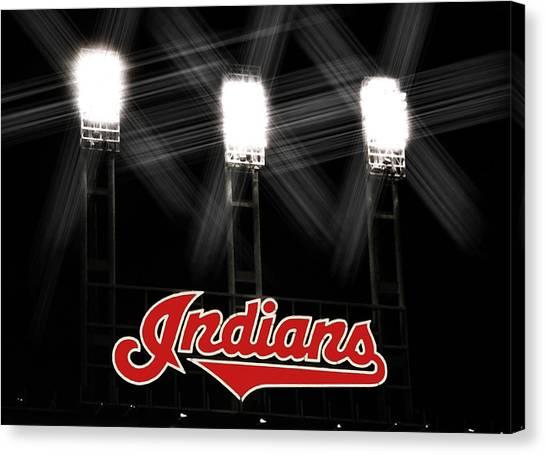 Cleveland Indians Canvas Print - Play Ball by Kenneth Krolikowski
