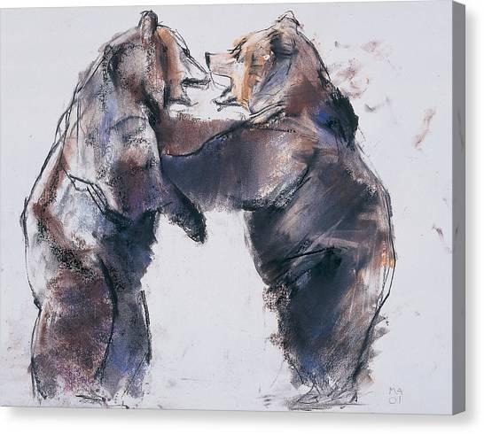 Brown Bears Canvas Print - Play Fight by Mark Adlington
