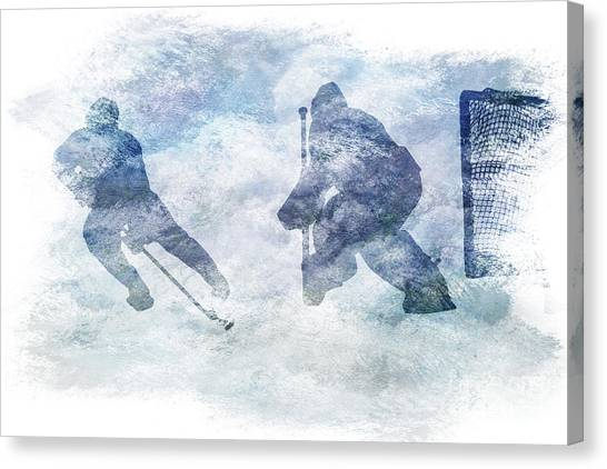 Hat Trick Canvas Print - Play Hockey by Randy Steele