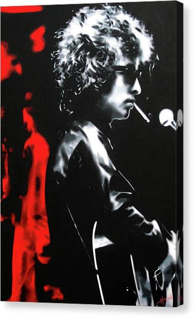 Bob Dylan Canvas Print - Play It Fuckin' Loud by Hood alias Ludzska