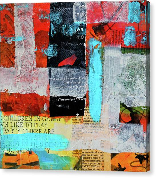 Torn Paper Collage Canvas Print - Play Party Abstract by Nancy Merkle