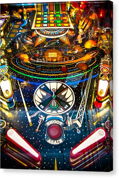 Fast Ball Canvas Print - Play Pinball by Colleen Kammerer