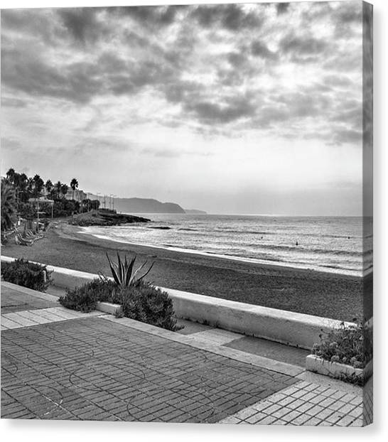 Vacations Canvas Print - Playa Burriana, Nerja by John Edwards