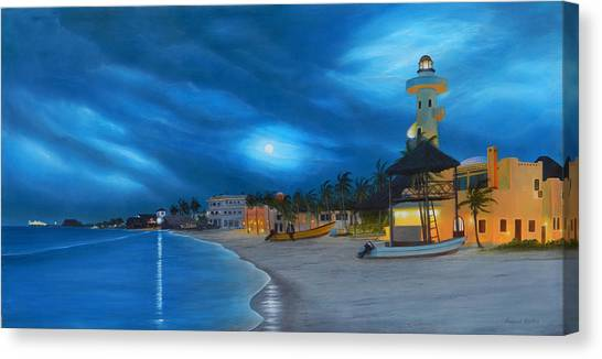 Playa De Noche Canvas Print