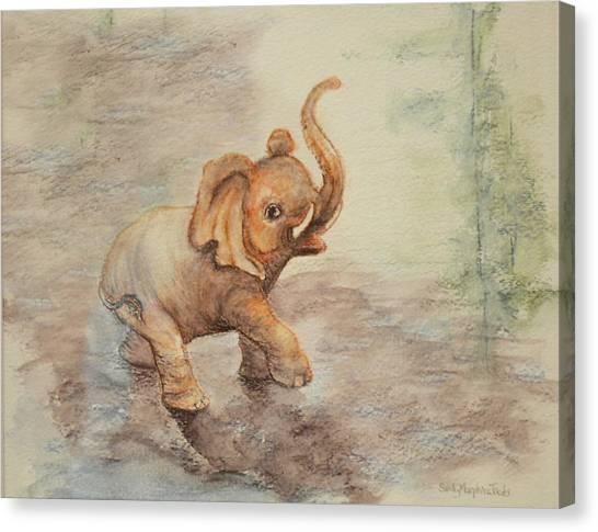 Playful Elephant Baby Canvas Print
