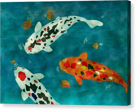 Canvas Print featuring the painting Playful Koi Fishes Original Acrylic Painting by Georgeta Blanaru