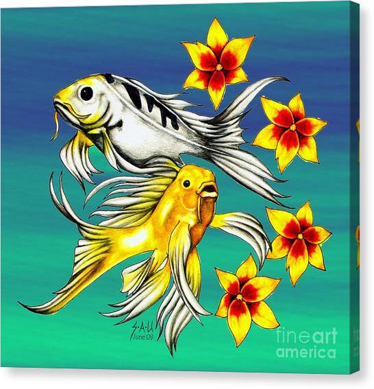 Playful Koi Canvas Print