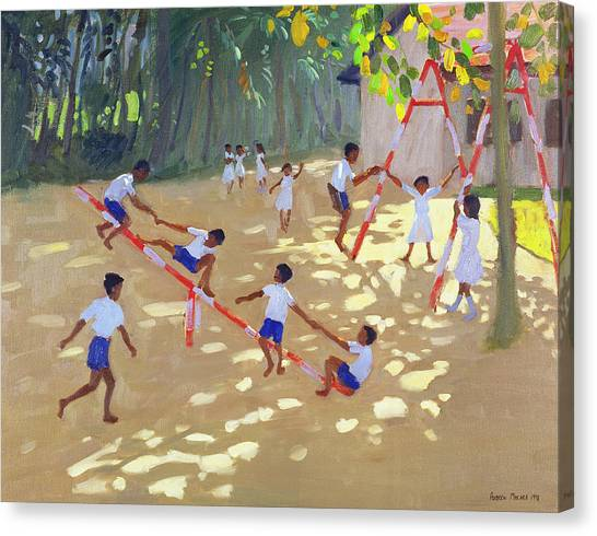 Dappled Canvas Print - Playground Sri Lanka by Andrew Macara
