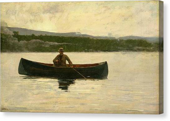 Angling Canvas Print - Playing A Fish by Winslow Homer
