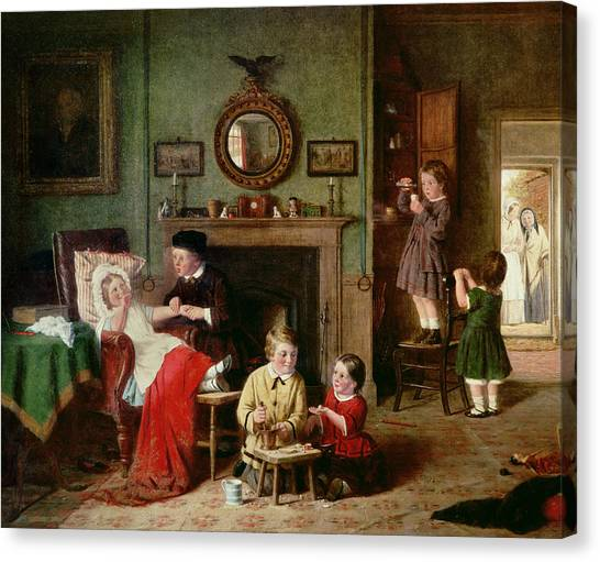Sick Canvas Print - Playing At Doctors by Frederick Daniel Hardy