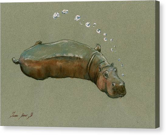 Hippos Canvas Print - Playing Hippo by Juan  Bosco