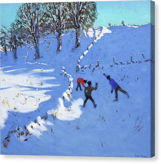 Snowball Canvas Print - Playing In The Snow Youlgrave, Derbyshire by Andrew Macara