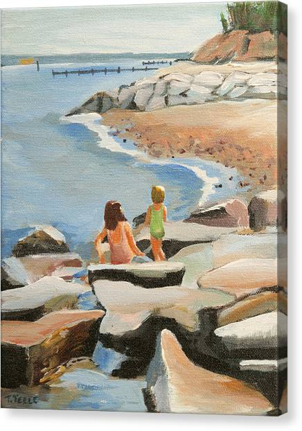 Playing On The Jetties Canvas Print