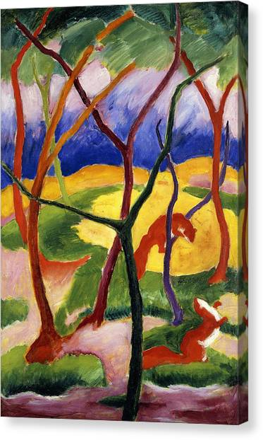Weasels Canvas Print - Playing Weasels by Franz Marc