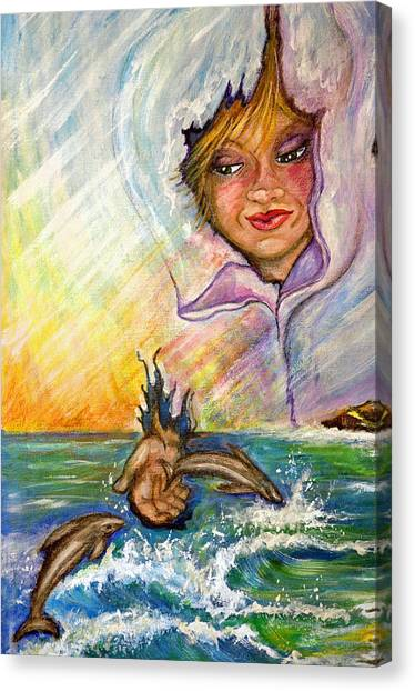 Playing With The Dolphins Canvas Print by Mickie Boothroyd