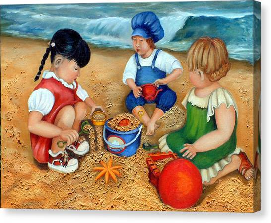Playtime At The Beach Canvas Print