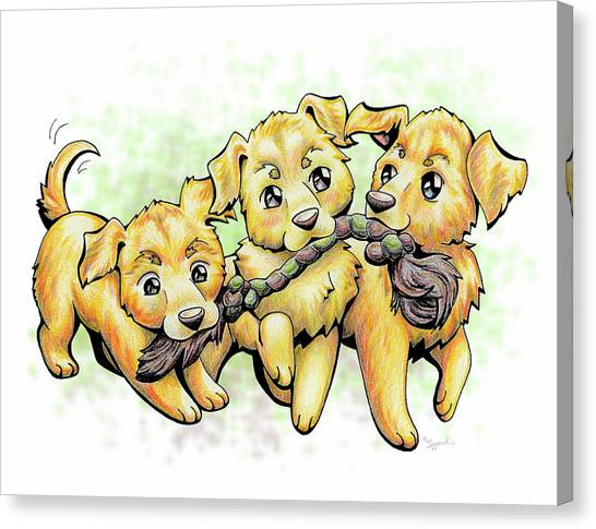 Playtime Golden Retriever Canvas Print