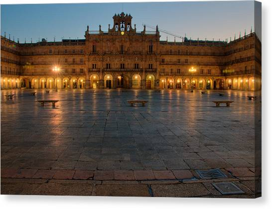 Plaza Mayor In Salamanca Canvas Print by Amber Lea Starfire