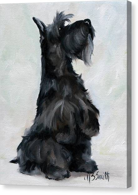 Dog Canvas Print - Please by Mary Sparrow
