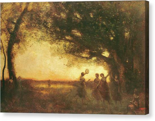 Tambourines Canvas Print - Pleasures Of The Evening by Jean Baptiste Camille Corot