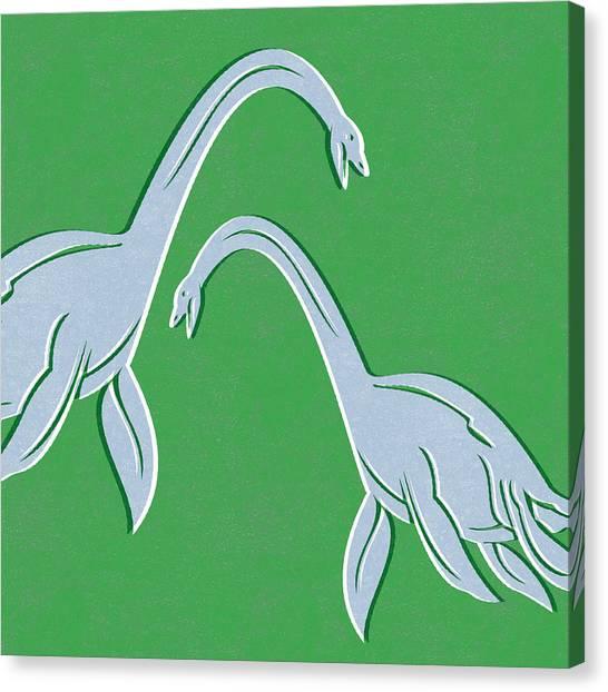 Extinct And Mythical Canvas Print - Plesiosaurus by Linda Woods