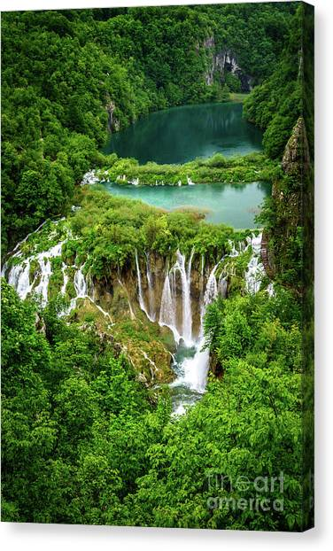 Plitvice Lakes National Park - A Heavenly Crystal Clear Waterfall Vista, Croatia Canvas Print