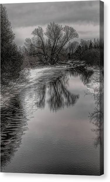Plover River Black And White Winter Reflections Canvas Print