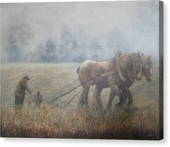Plowing It The Old Way Canvas Print