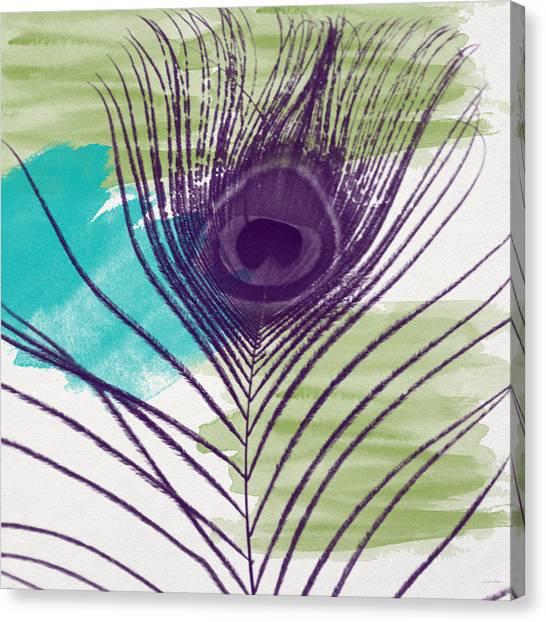 Peacocks Canvas Print - Plumage 2-art By Linda Woods by Linda Woods